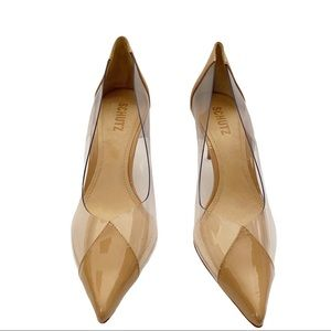 Schutz Garthy Clear & Beige Pointed Toe Pumps